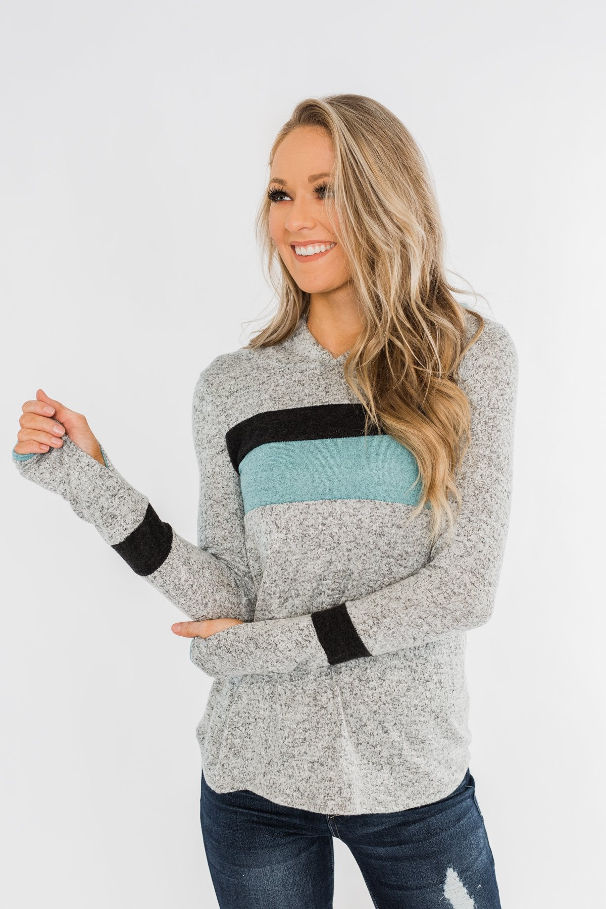Only A Matter Of Time Hoodie- Heather Grey & Mint Blue