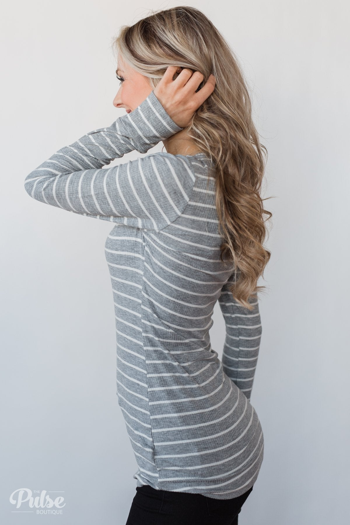 Need You Now 5-Button Henley Top- Grey Striped