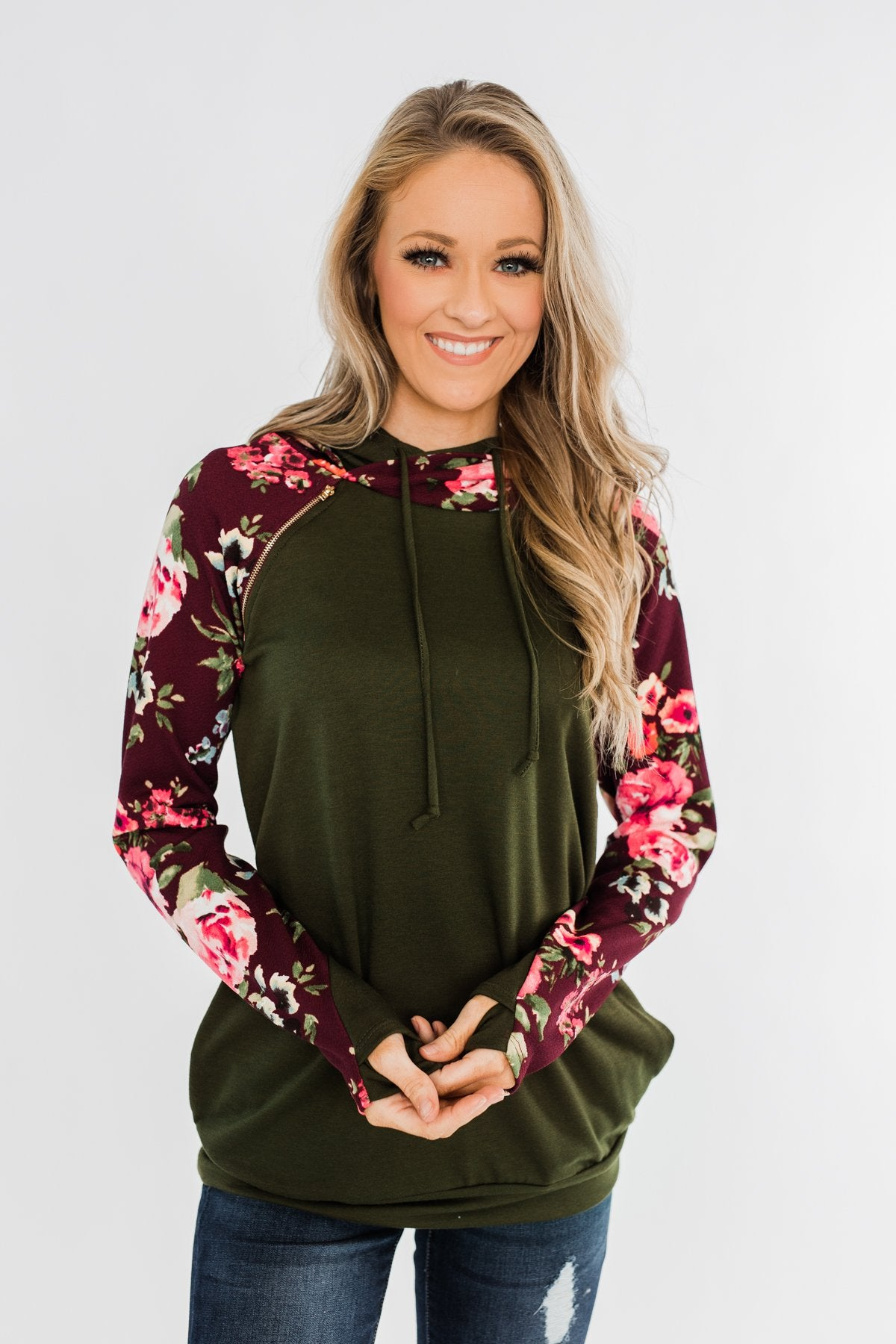 Easy On The Eyes Floral Double Hoodie- Army Green
