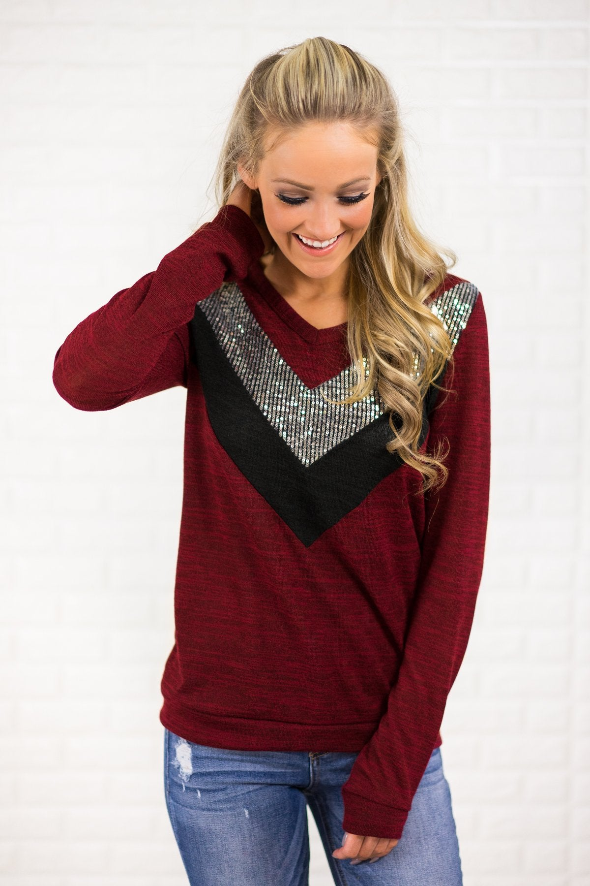 Sassy in Sequins Top ~ Cranberry