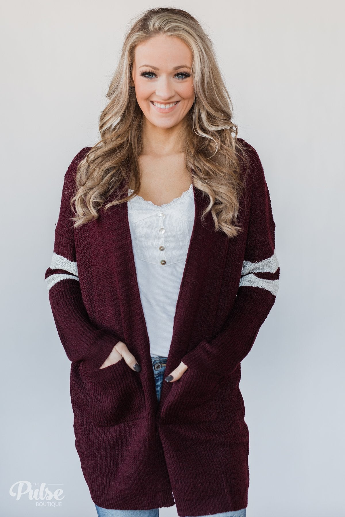 6dab24c2be816 Varsity Stripe Knitted Cardigan- Burgundy – The Pulse Boutique