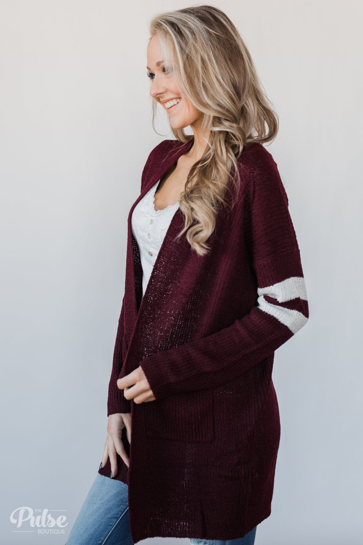 7cd98f55f4dbb Varsity Stripe Knitted Cardigan- Burgundy – The Pulse Boutique