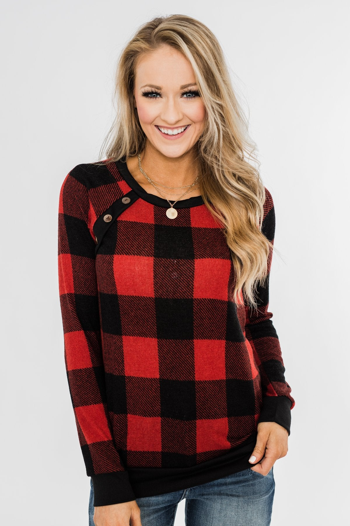 On My Mind Button Detail Top- Buffalo Plaid
