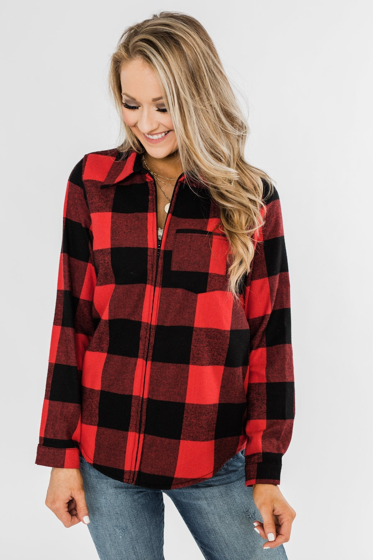 Cabin Fever Zip-Up Jacket- Buffalo Plaid