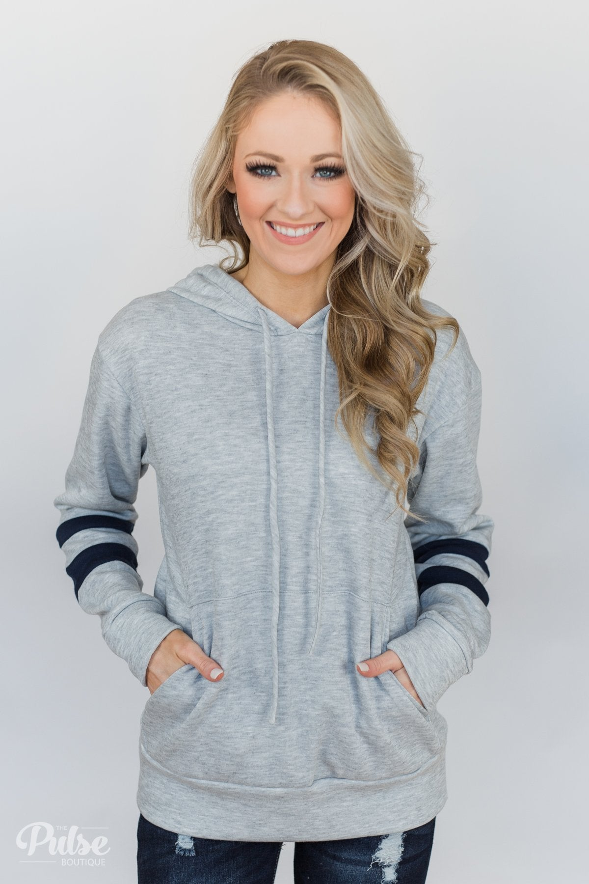 Feels Like Home Soft Hoodie- Heather Grey & Navy