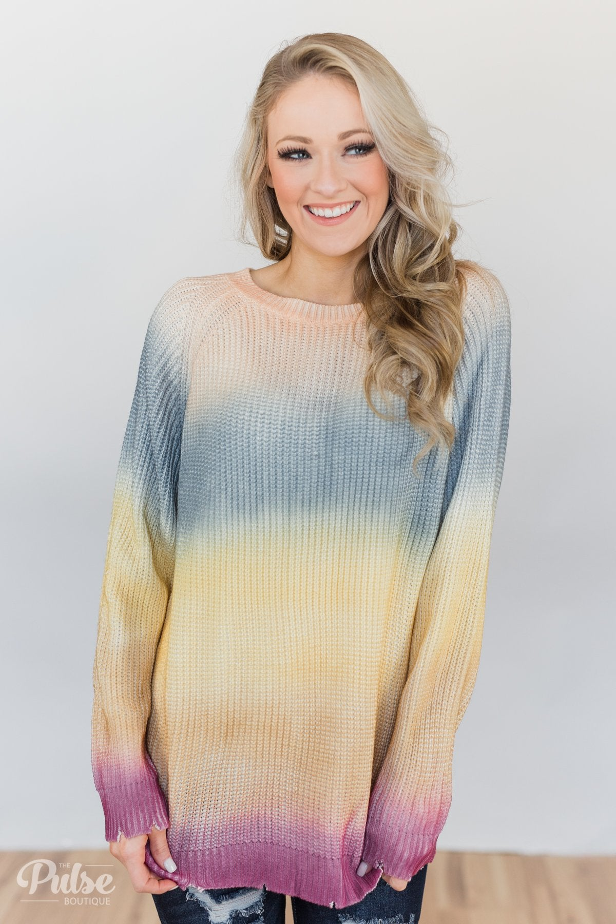 Knitted Ombre Sweater- Blue, Yellow, Purple