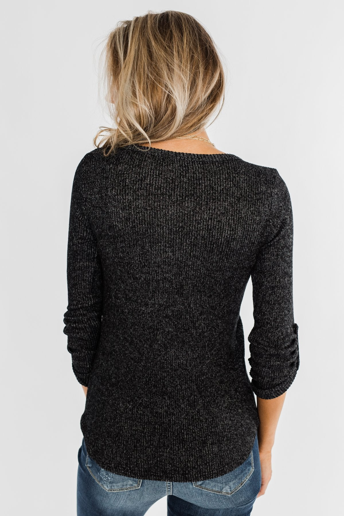 Starry Nights Ribbed Pocket Top- Black