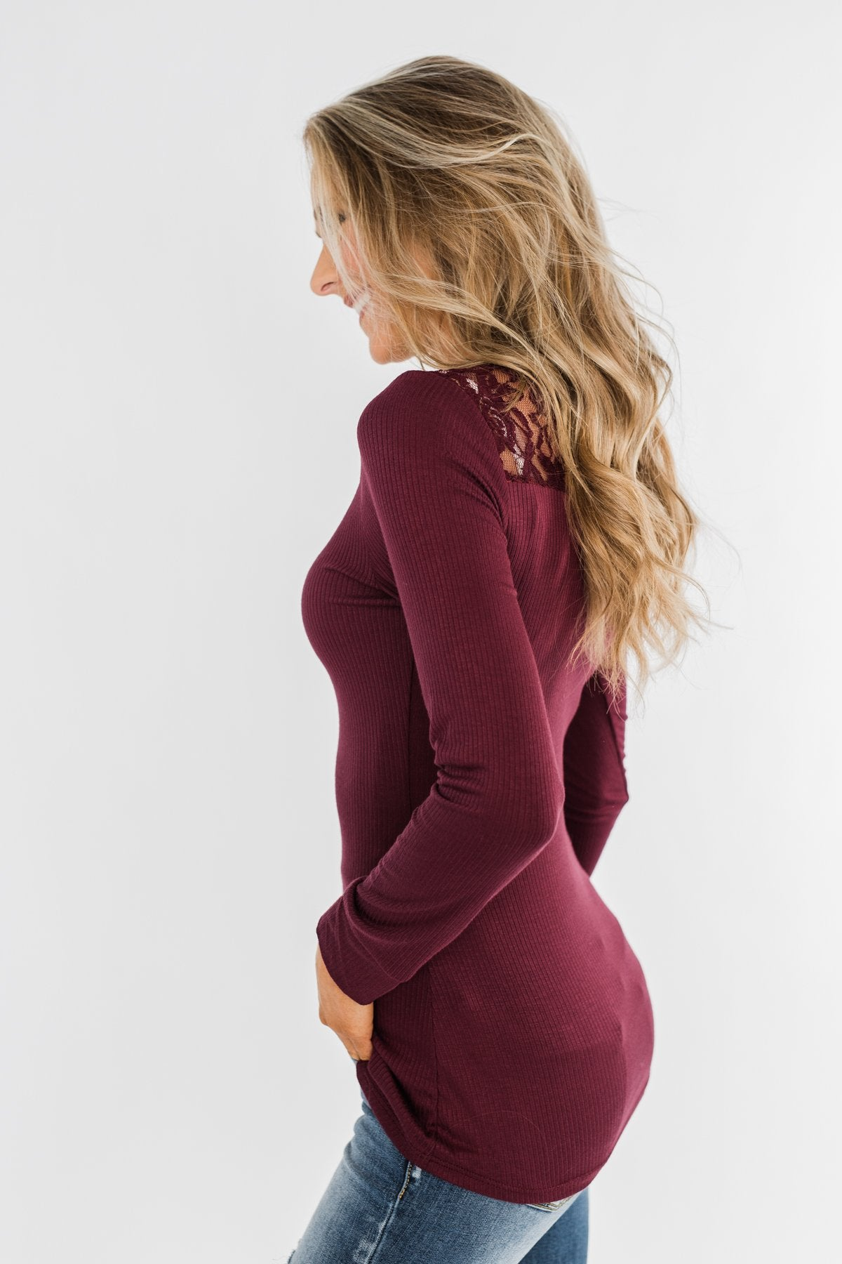 Lace Back 5-Button Henley Top- Burgundy