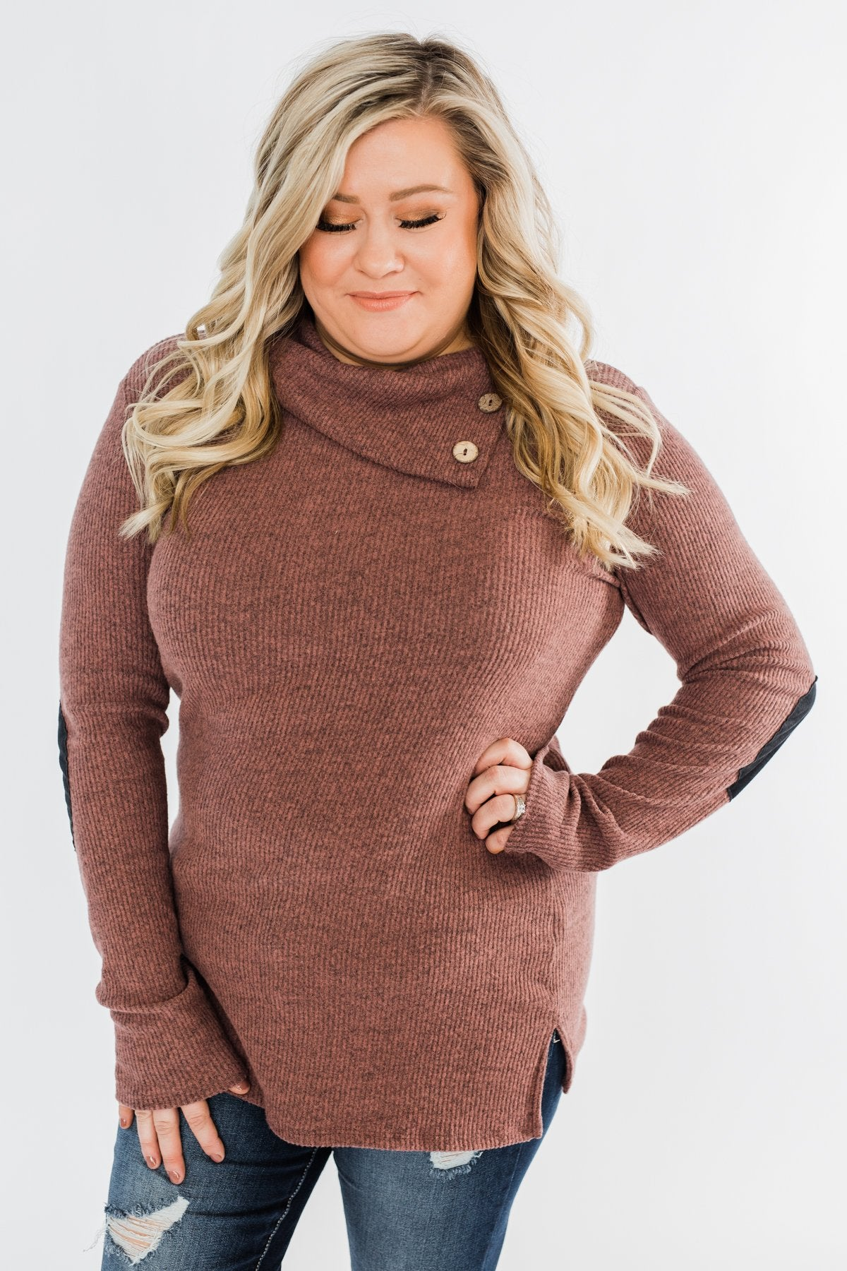 Moments Like This Knit Button Top- Dark Mauve