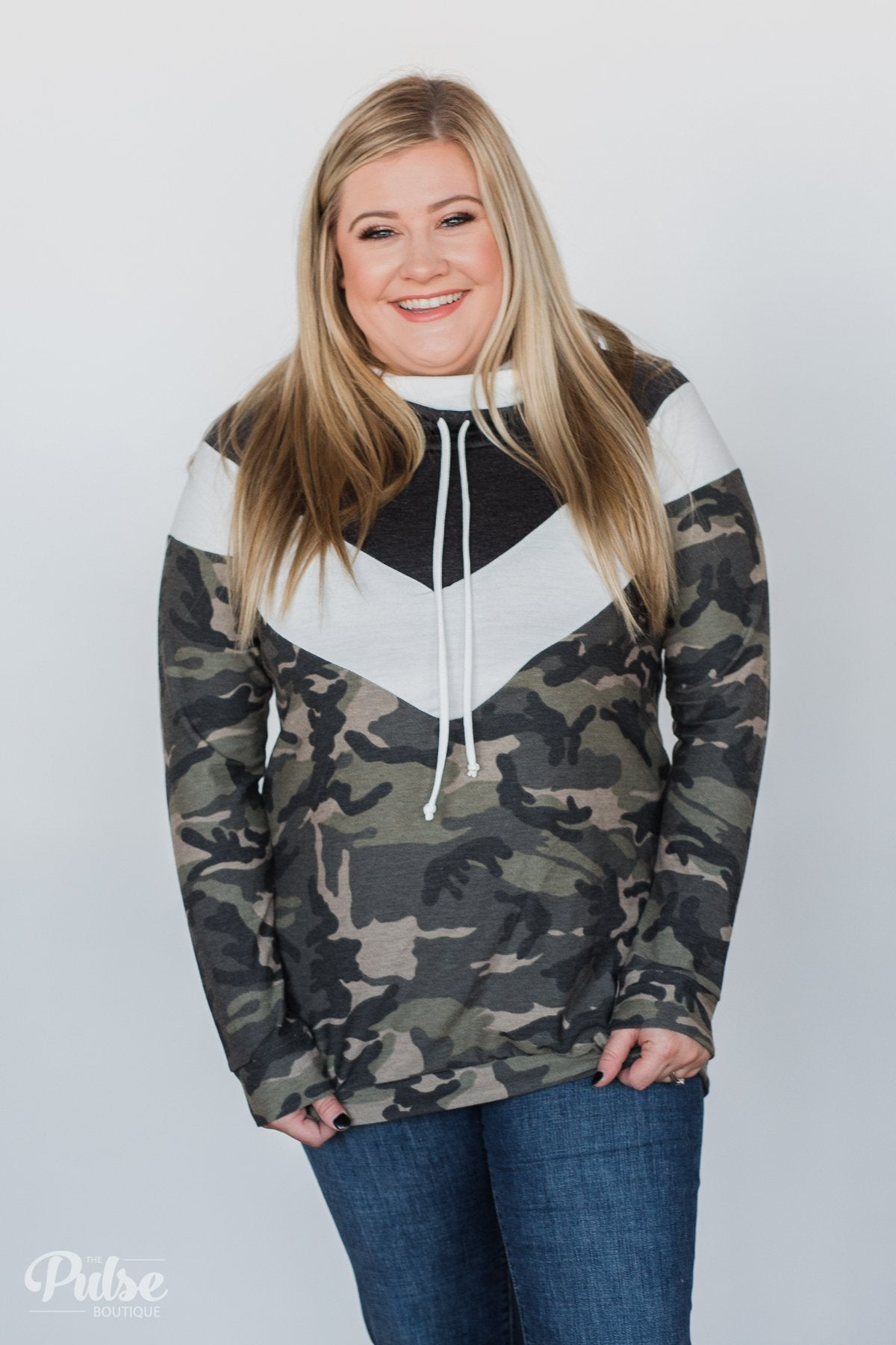 Cheerful in Plaid Cowl Neck Hoodie- Heather Black
