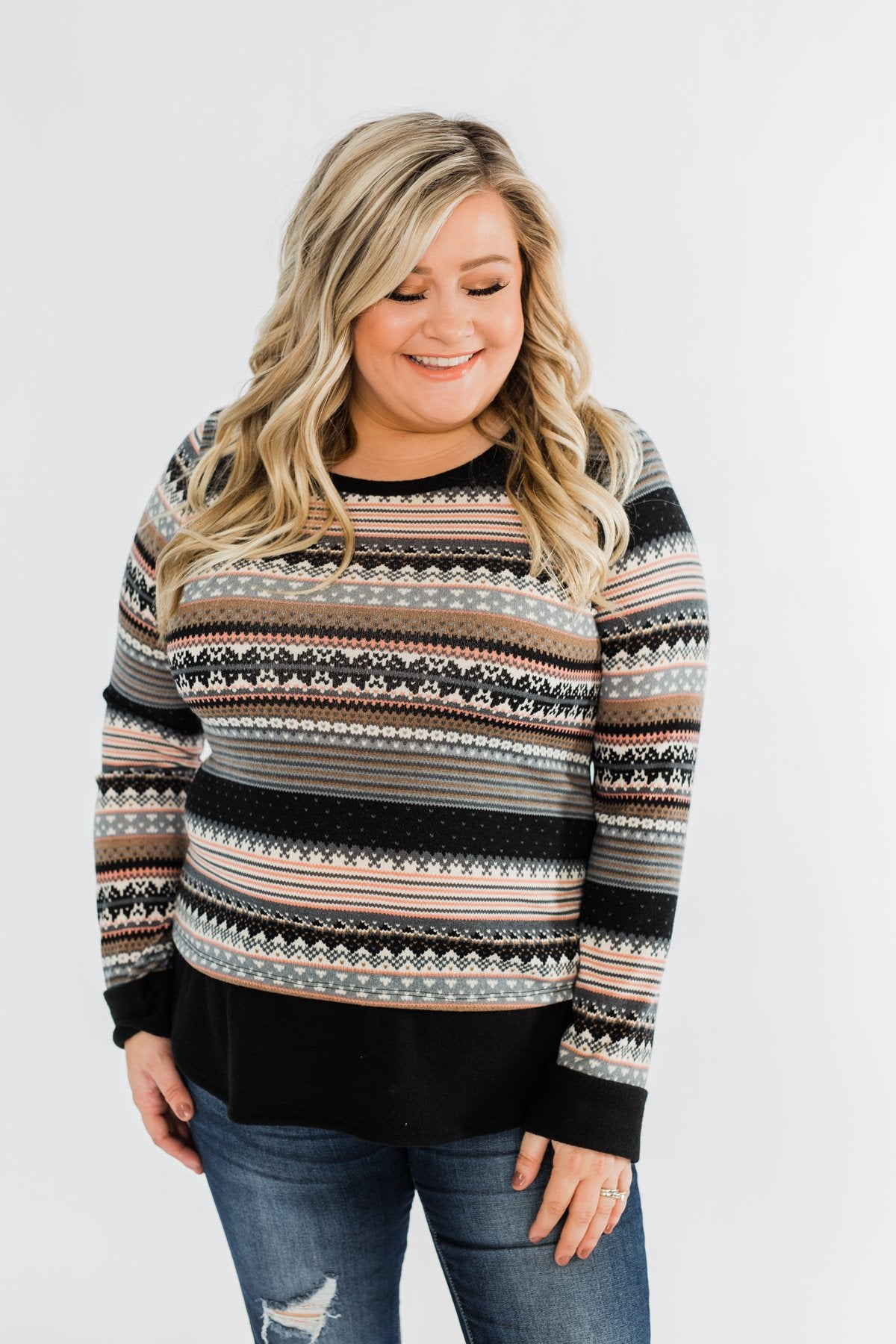 Simply Beautiful Pullover Top- Black & Pink