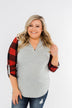 Here I Am V-Neck Top- Heather Grey & Buffalo Plaid