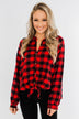 Takes Me Back Front Tie Plaid Top- Buffalo Plaid