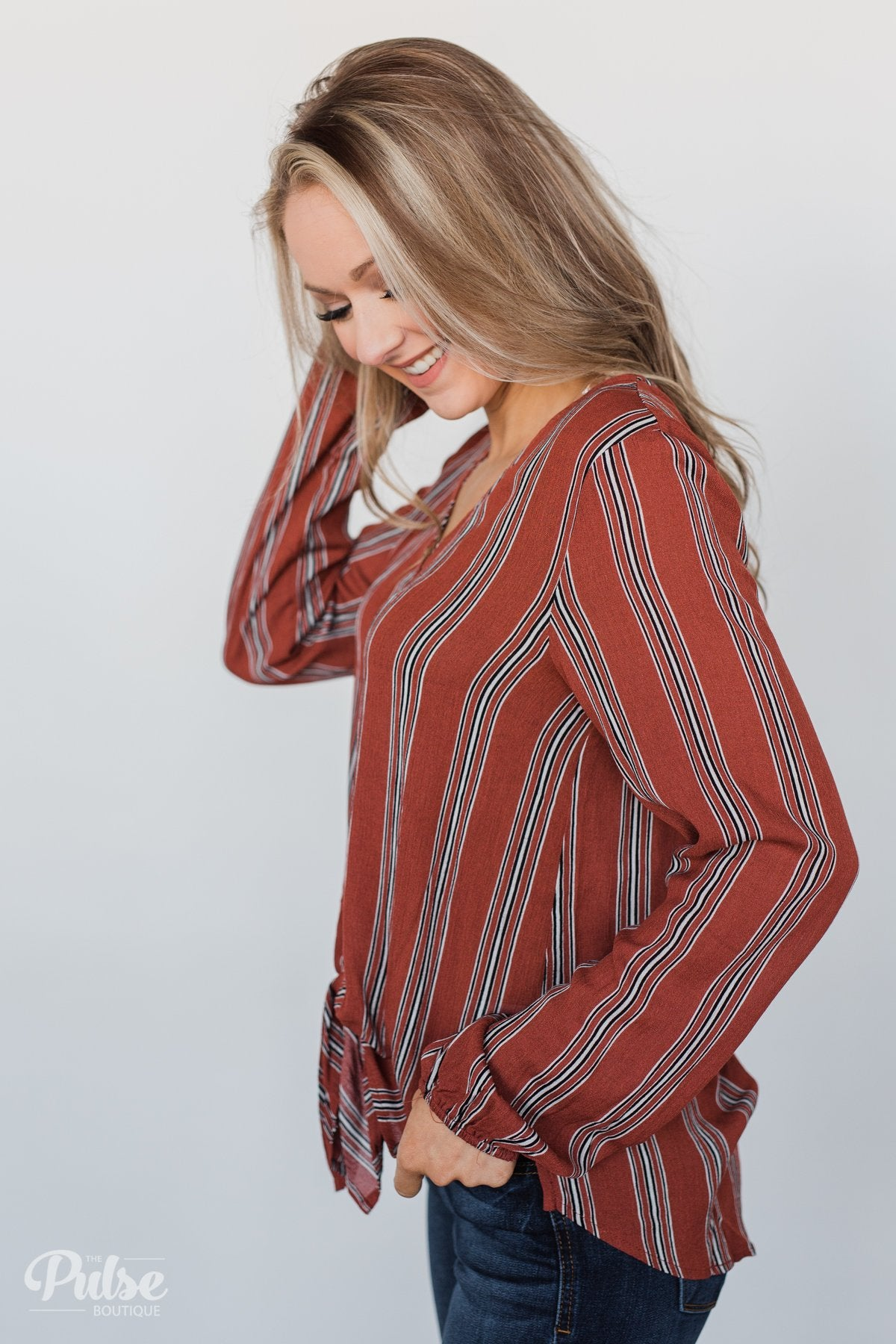Take Your Time Striped Tie Top- Clay