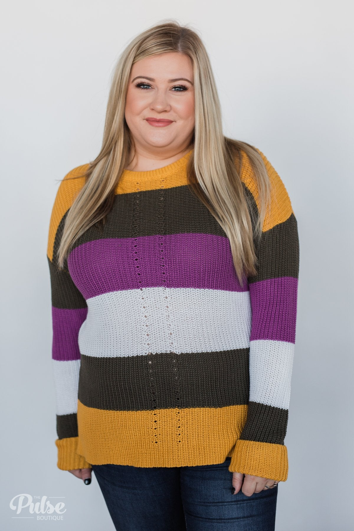 The Way to You Knitted Sweater- Mustard, Olive, & Purple