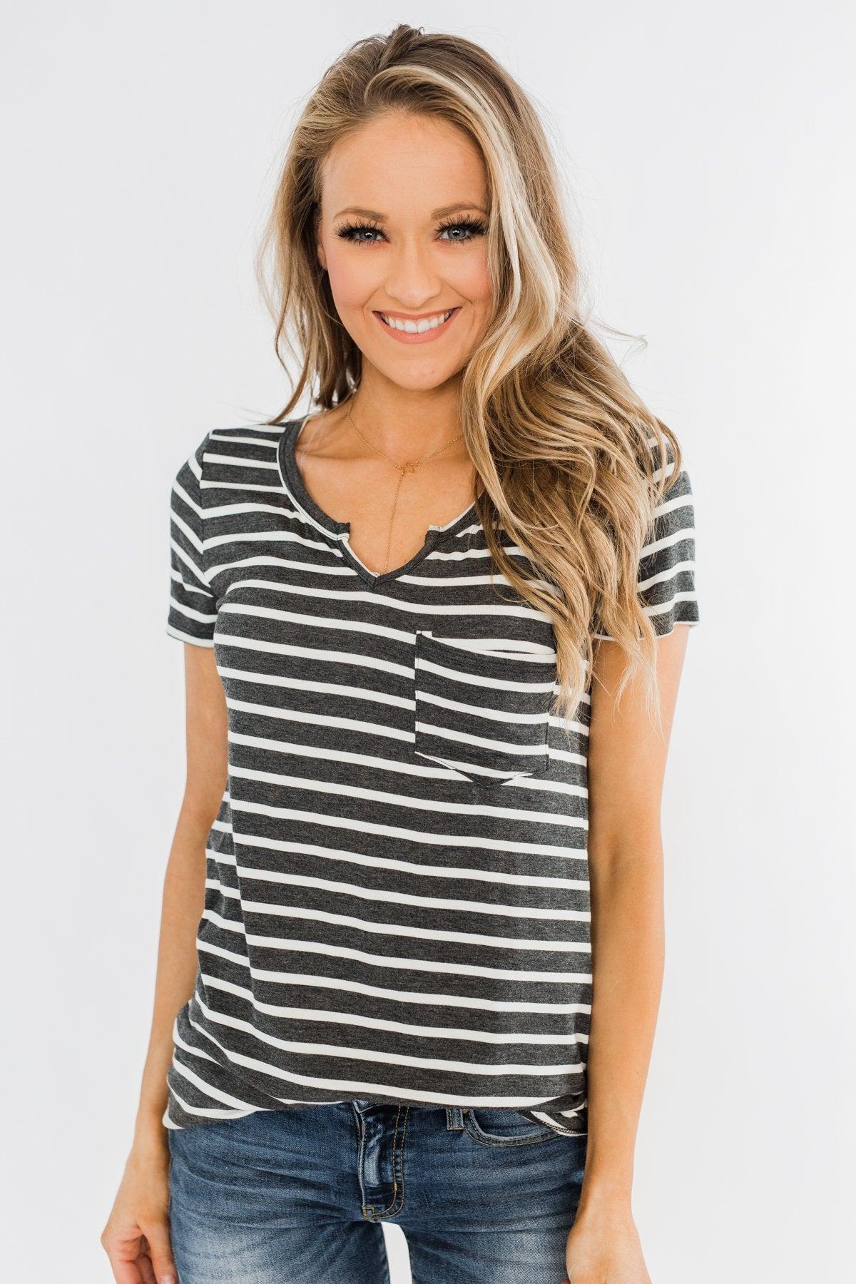 This is Me Striped Notch Pocket Top- Charcoal & Ivory
