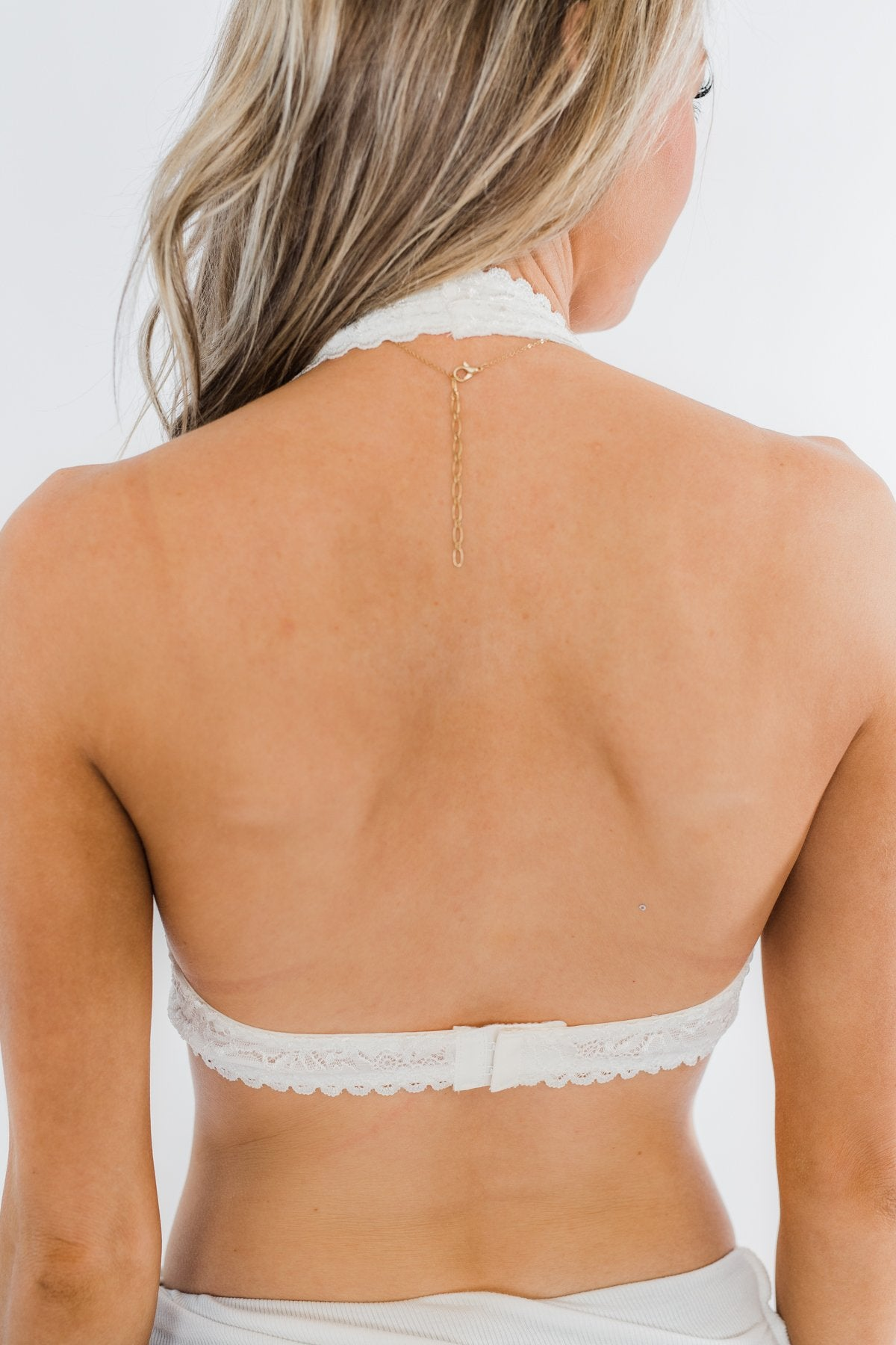 Halter Neck Lace Bralette- Off White