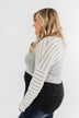 Adore Me Color Block Top- Ivory, Heather Grey, & Charcoal