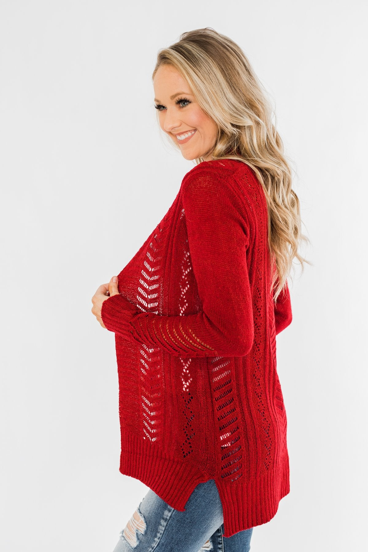 Open Front Pointelle Cardigan- Holiday Red
