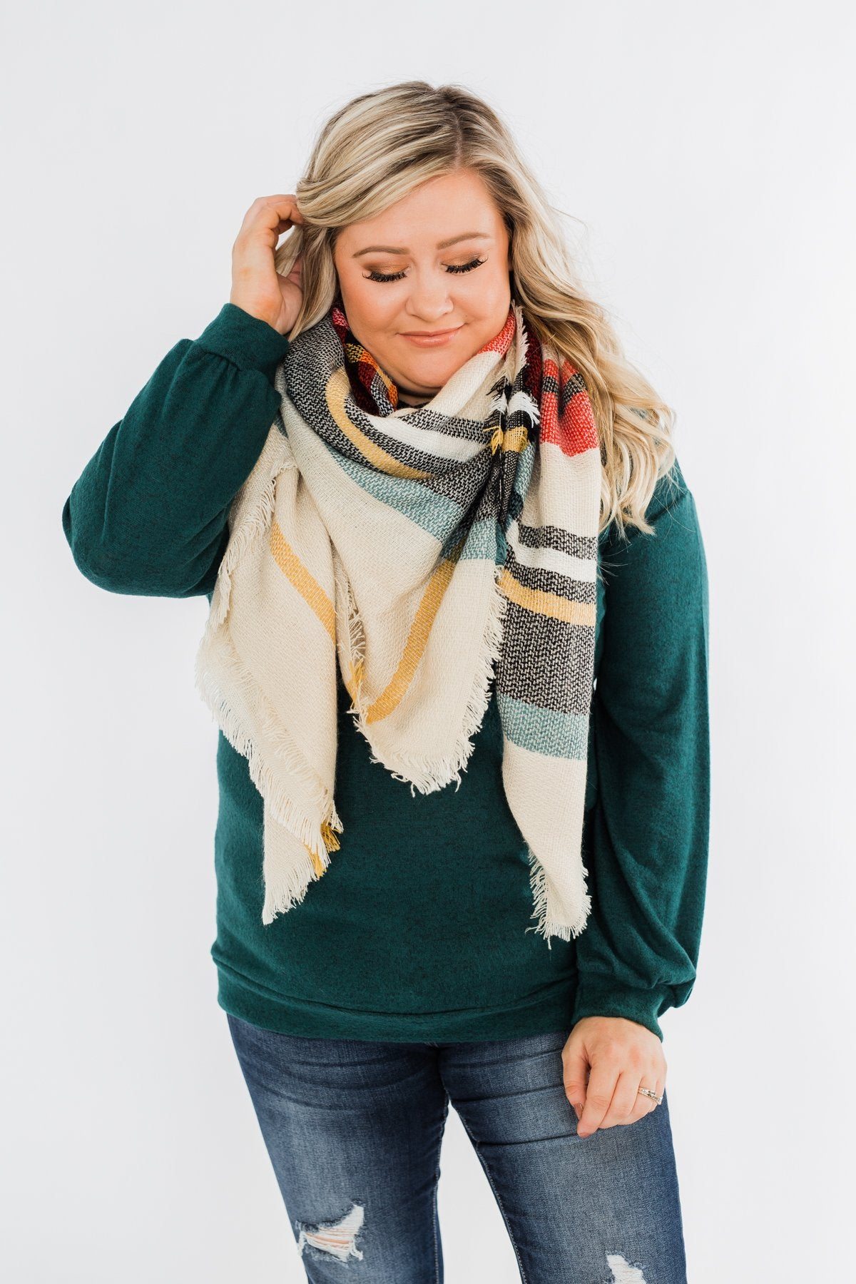 Blanket Scarf- Cream, Green, Mustard, & Red