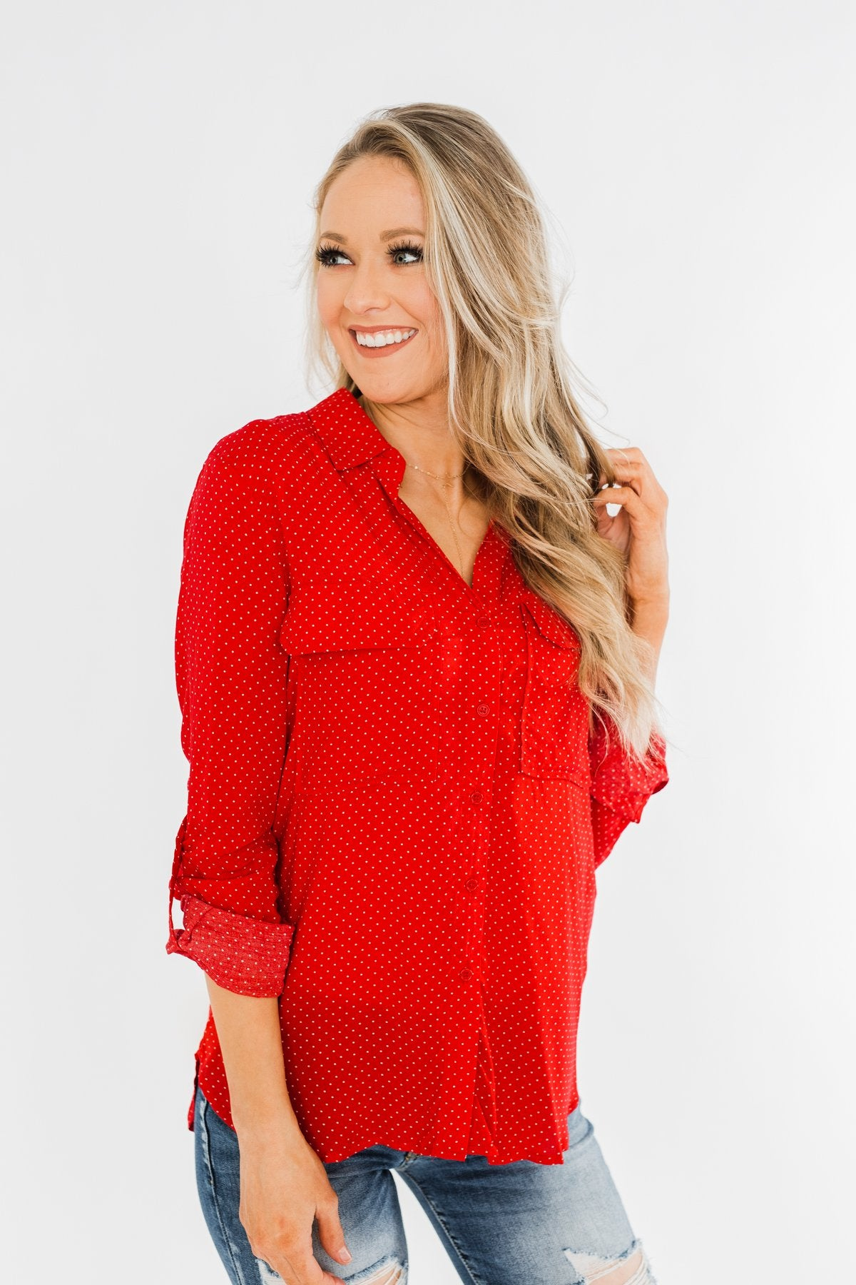 Perfect For Me Polka Dot Blouse- Lipstick Red