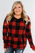 Feelings Like This Cowl Neck Top- Buffalo Plaid