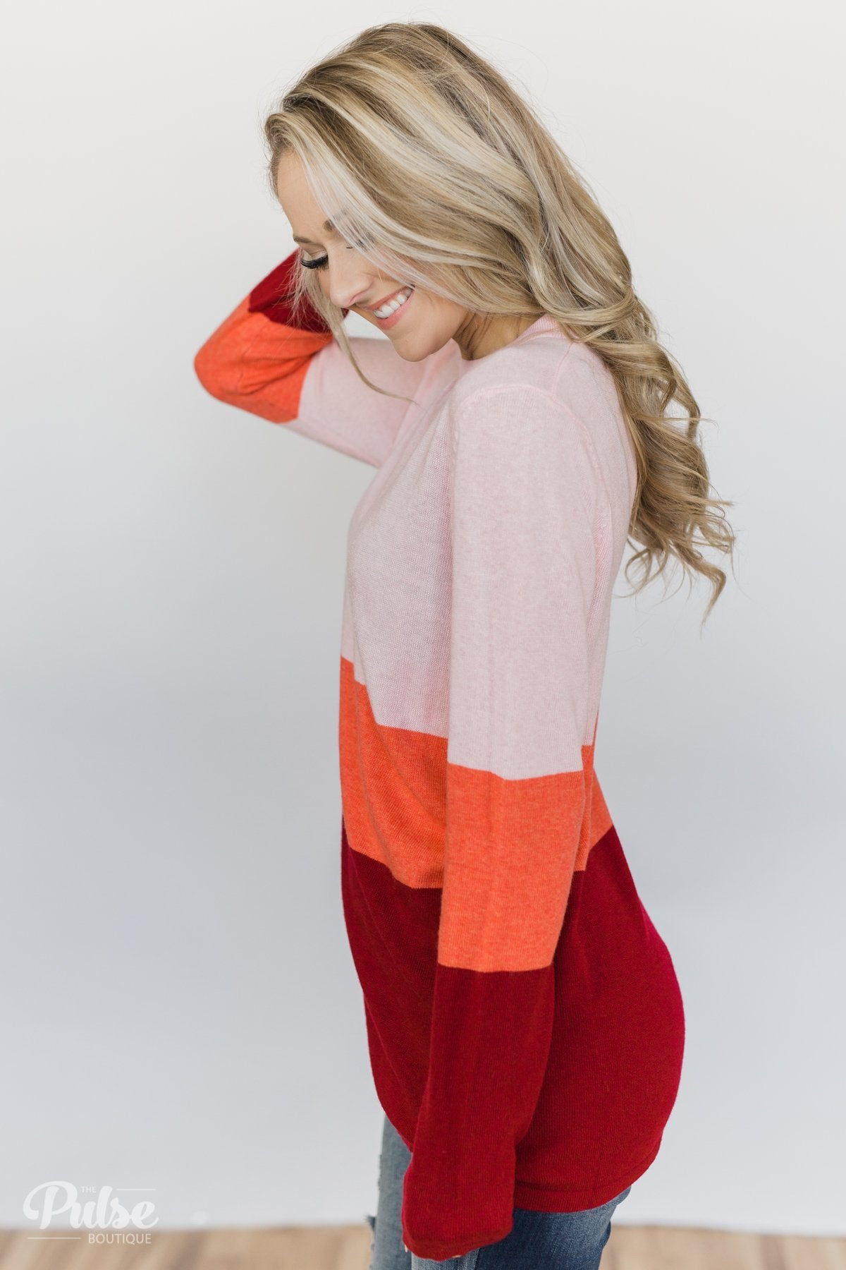 Feeling The Love Color Block Sweater- Pink, Orange, Red