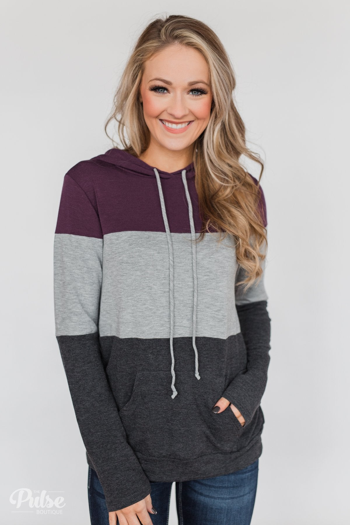Lightweight Color Block Hoodie- Eggplant & Grey