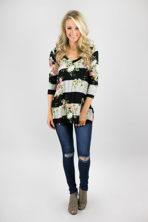 About Time 3/4 Sleeve Floral Top