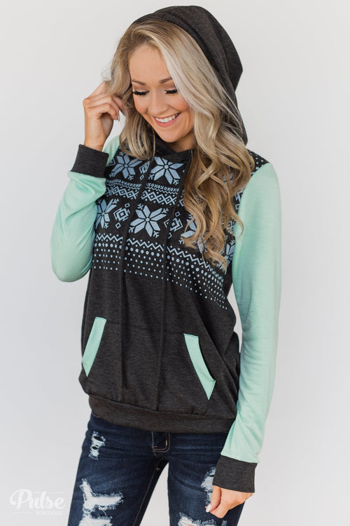 Winter Is Coming Snowflake Hoodie- Mint & Charcoal