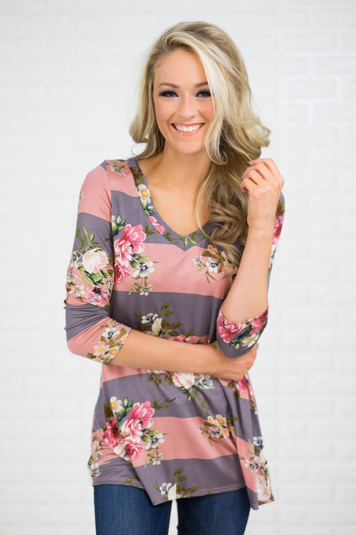About Time 3/4 Sleeve Floral Top - Pink