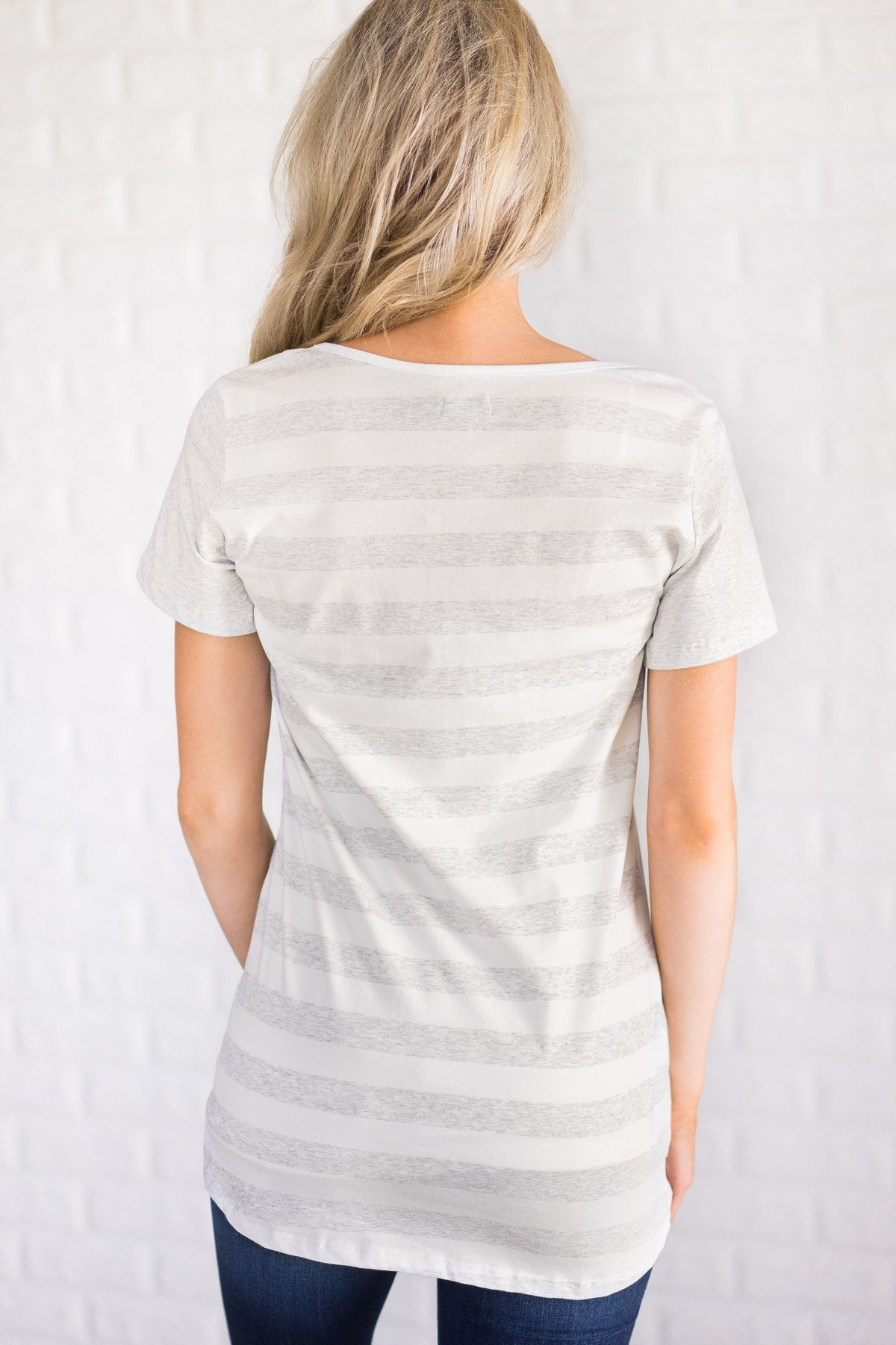 Ampersand Striped V-Neck Tee - Heather Grey