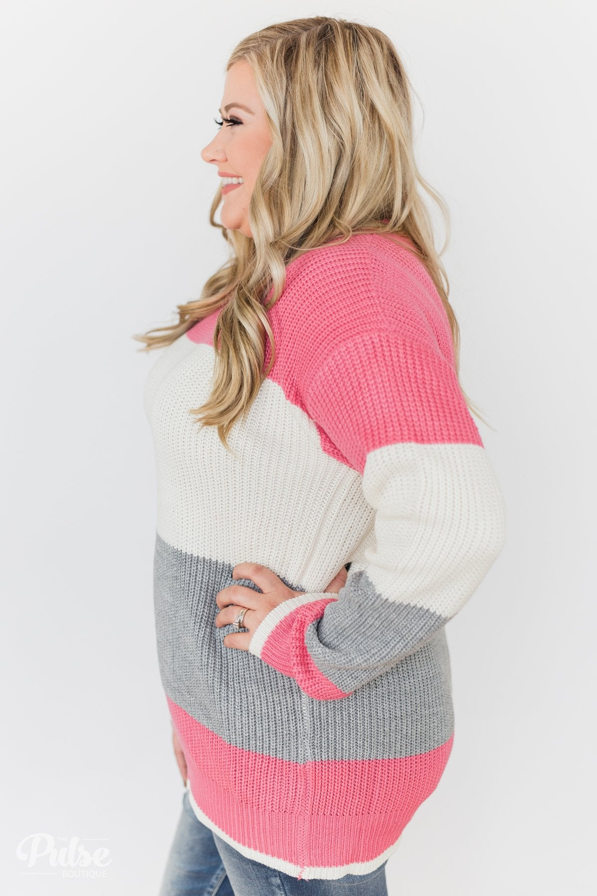 Up to You Knitted Color Block Sweater- Pink, Ivory, Grey