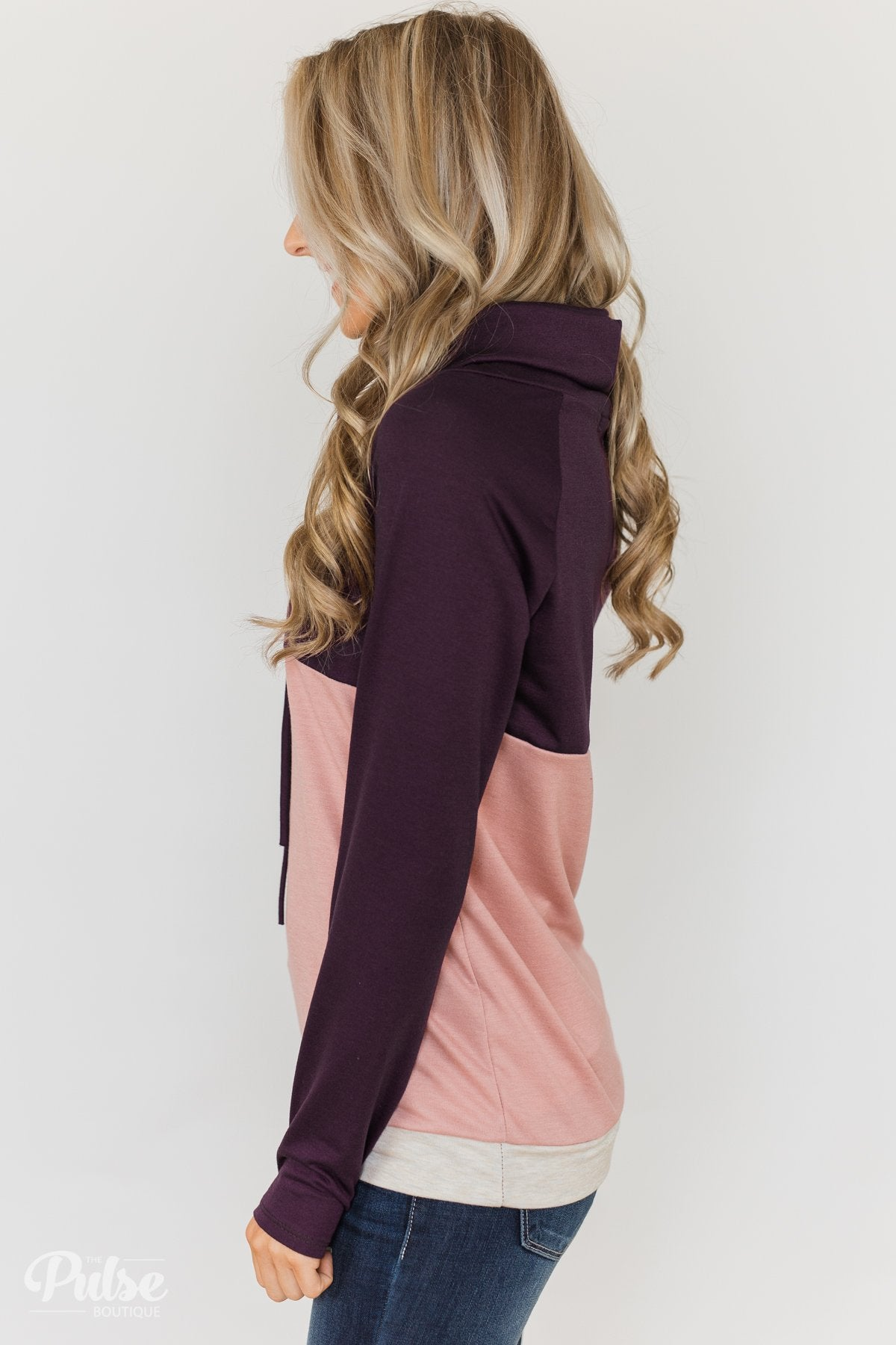 Color Block Cowl Neck- Purple & Blush