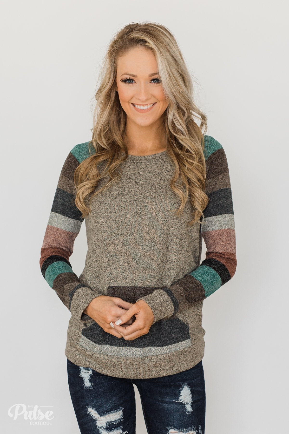 Look My Way Pullover Pocket Top- Taupe