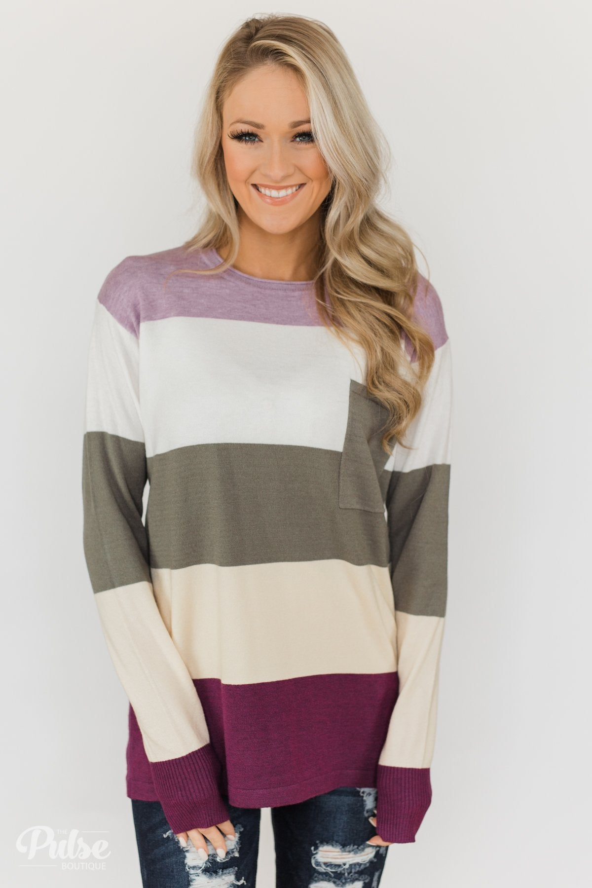 The Next Step Color Block Sweater- Purple, Ivory, Sage