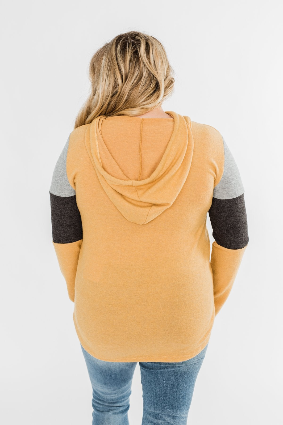 Makes Me Happy Color Block Hoodie- Mustard