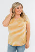 This is Me Striped Notch Pocket Top- Golden Yellow & Ivory