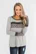 Can't Stop Smiling Long Sleeve Top- Grey
