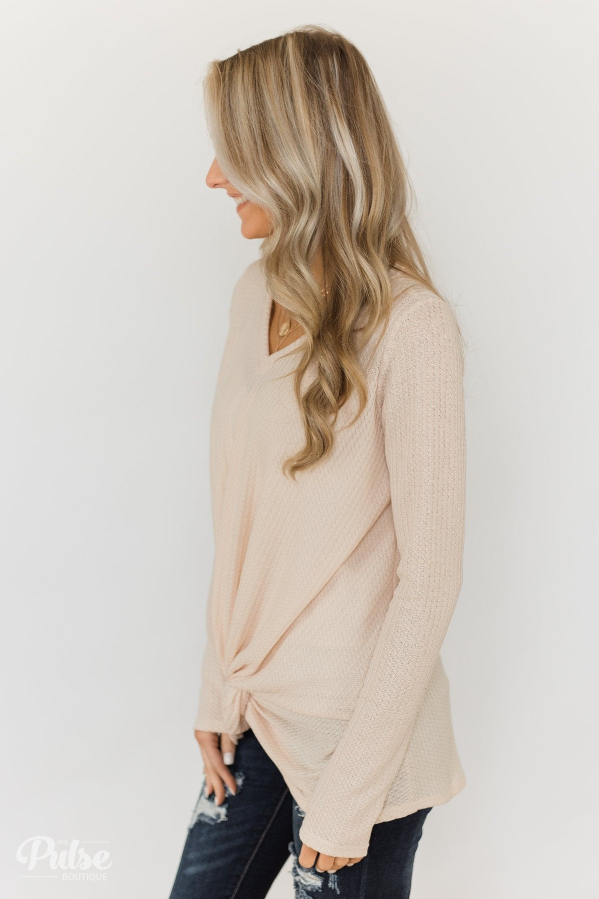 Twist of Something Special Thermal Top- Cream