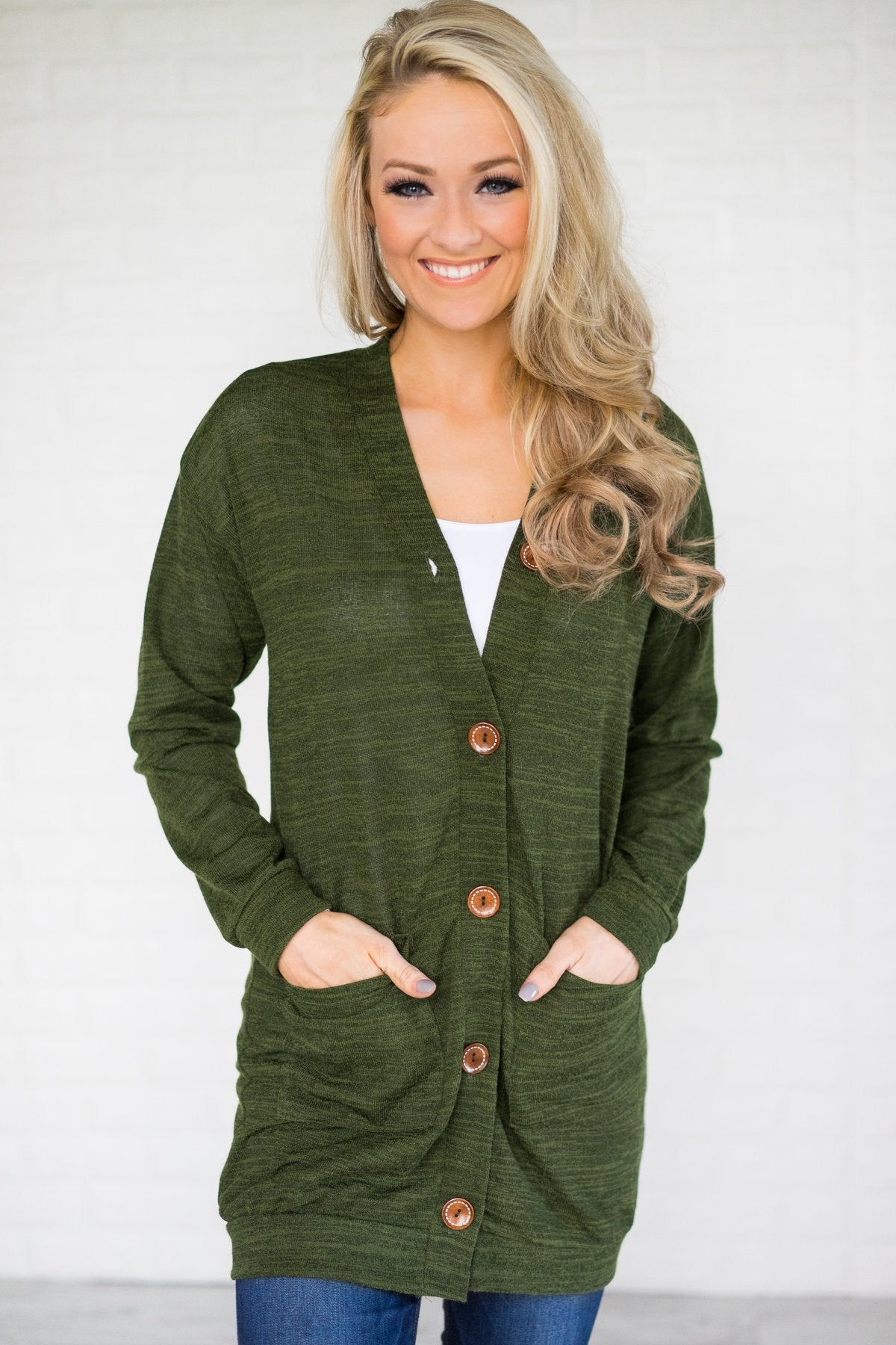 Forest Green Button Up Cardigan