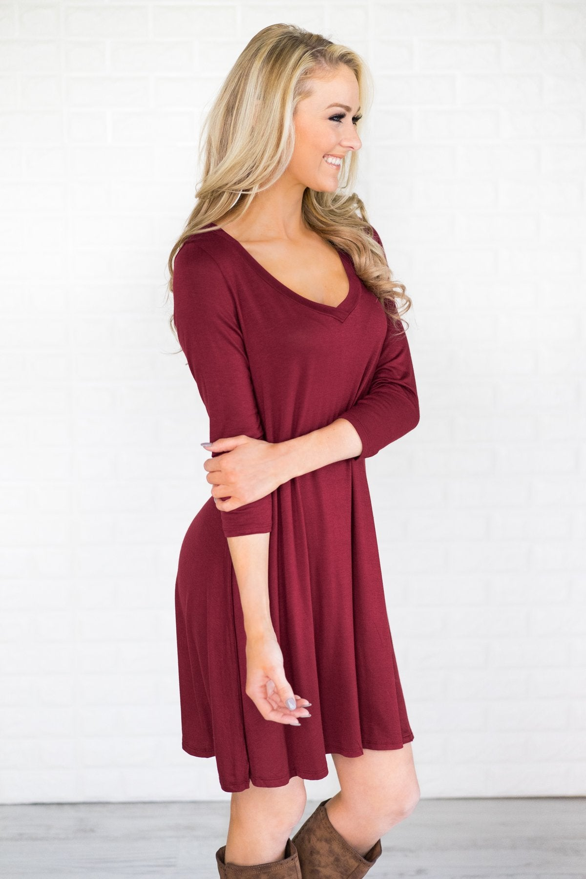 Go-To Burgundy V-Neck Dress