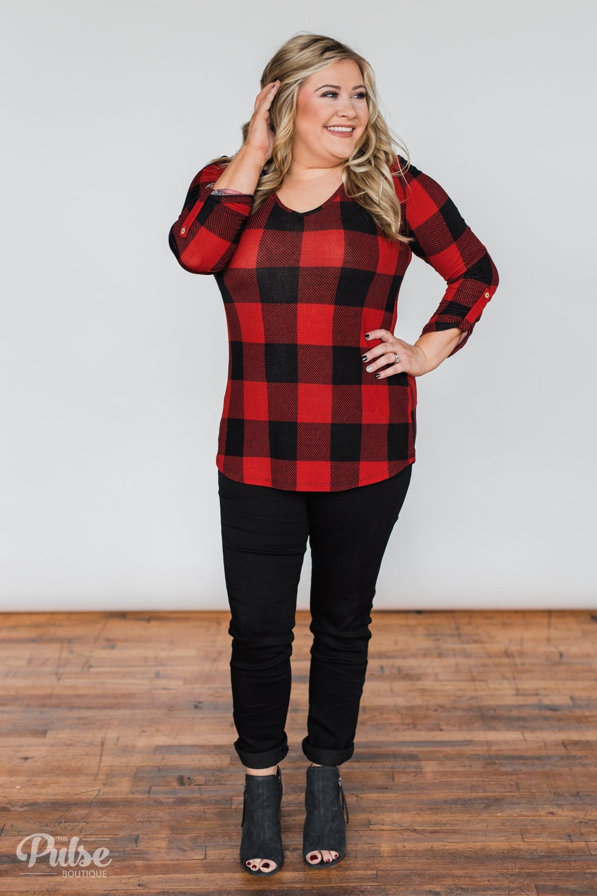 Be With You 3/4 Sleeve Buffalo Plaid Top- Red & Black