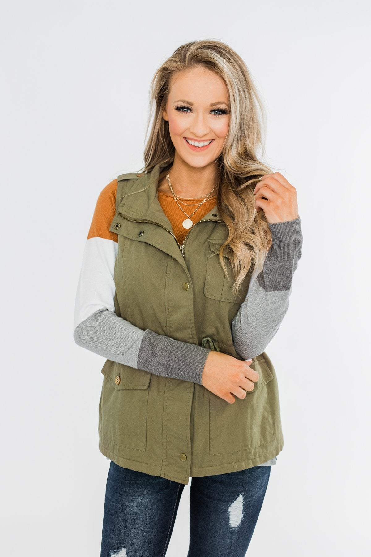 Marching To The Beat Faux Fur Vest- Olive