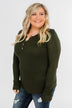 Lace Back 5-Button Henley Top- Olive