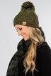 Fleece Lined Pom Beanie- Dark Olive