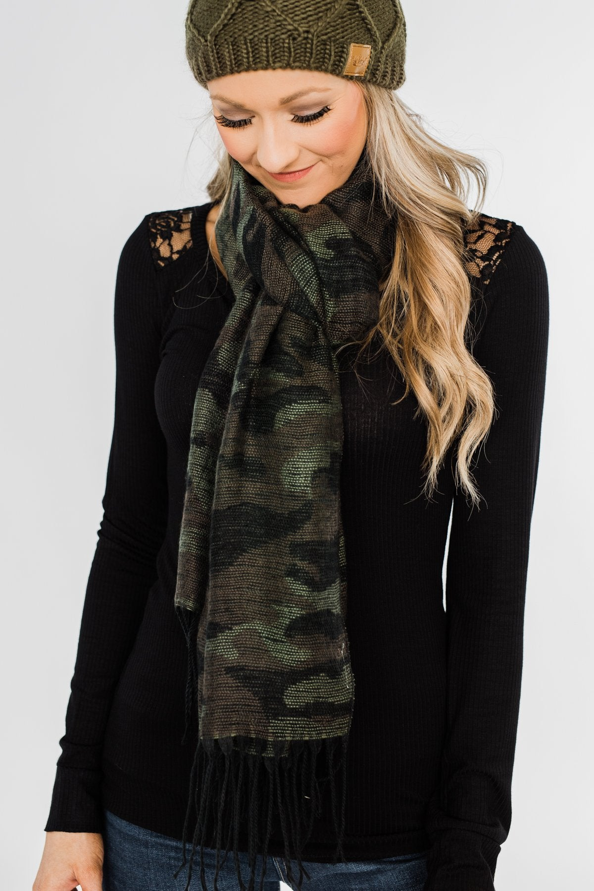 Knit Table Runner Scarf- Camo