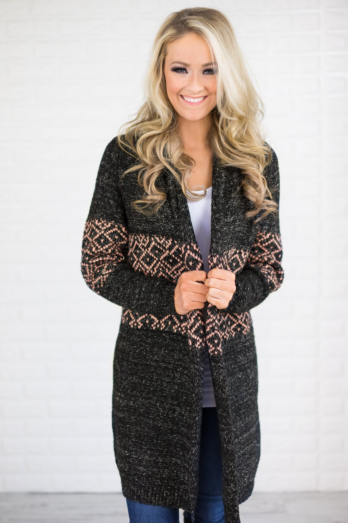 Cozy Sweater Cardigan Charcoal & Pink
