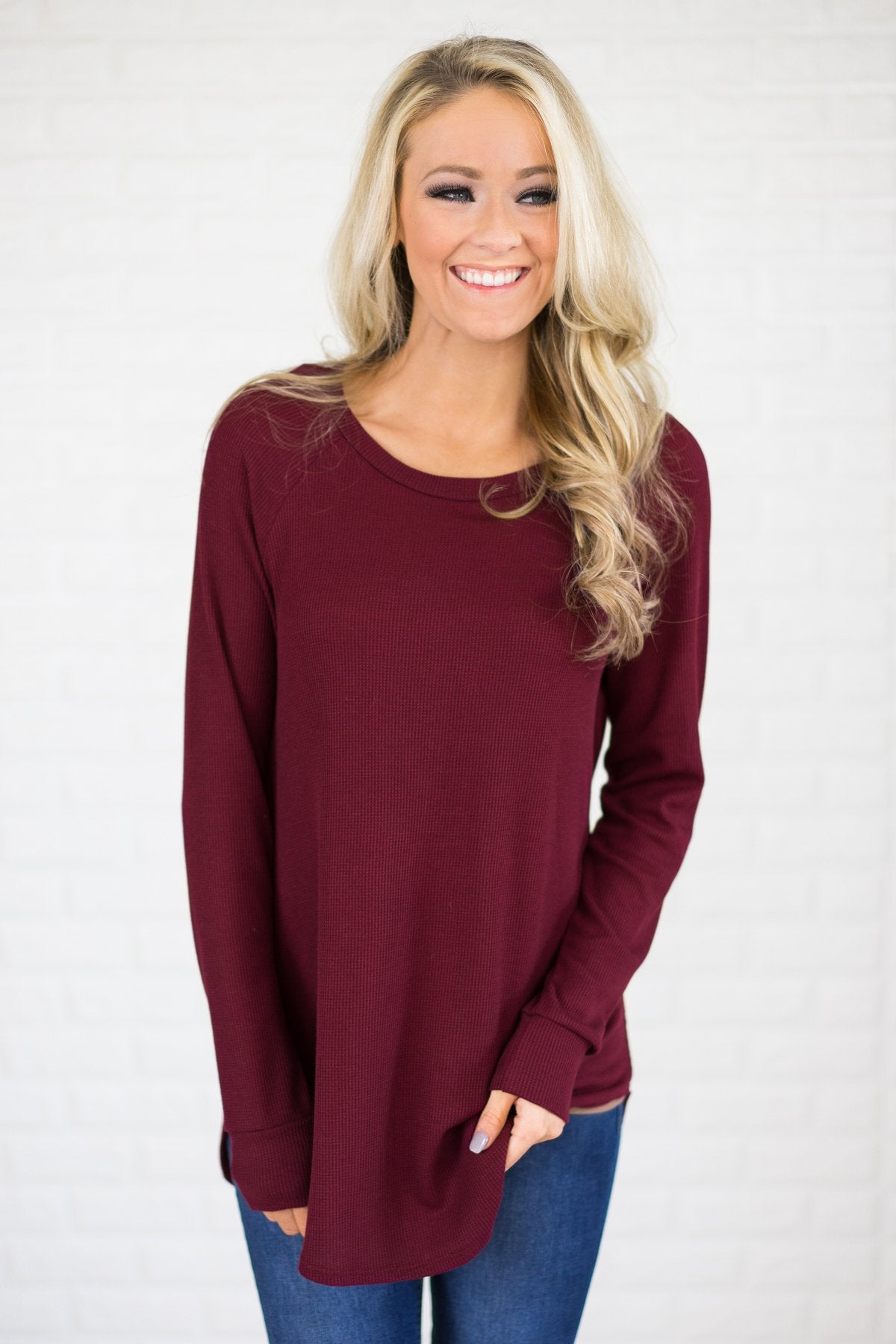 Long Thermal Tunic Top Burgundy The Pulse Boutique
