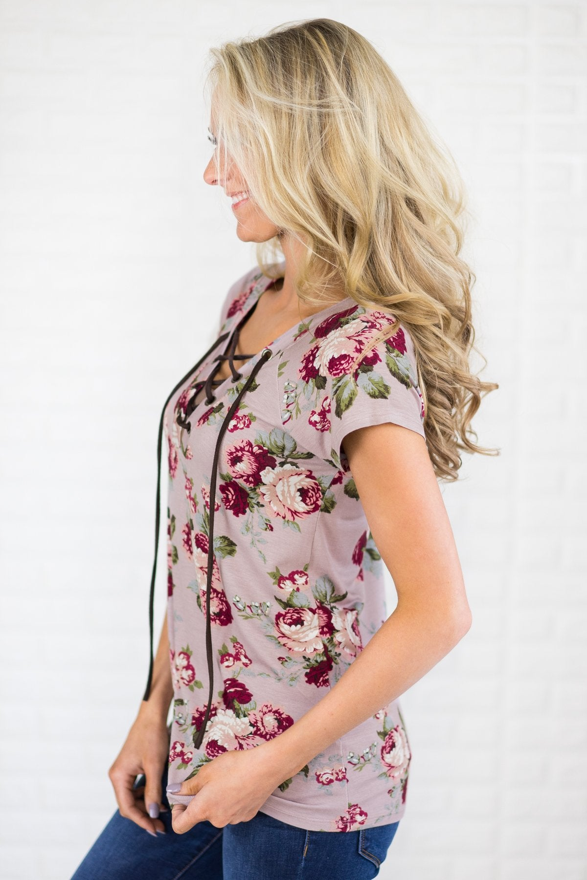 Lace Up Floral Top